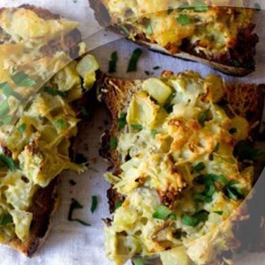 Bruschettas d'artichauts et pommes de terre