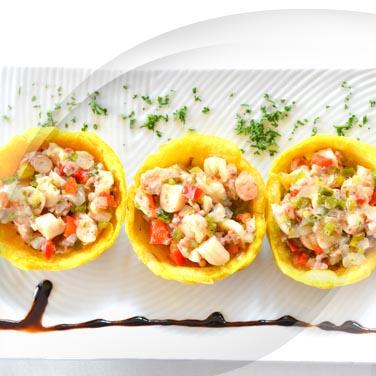 Salade de fruits de mer avec salade