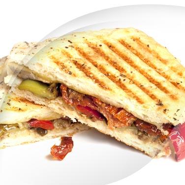 Sandwich viande salade et aubergines