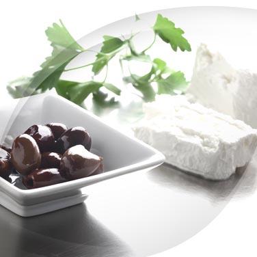 Carrés de ricotta, olives et jambon